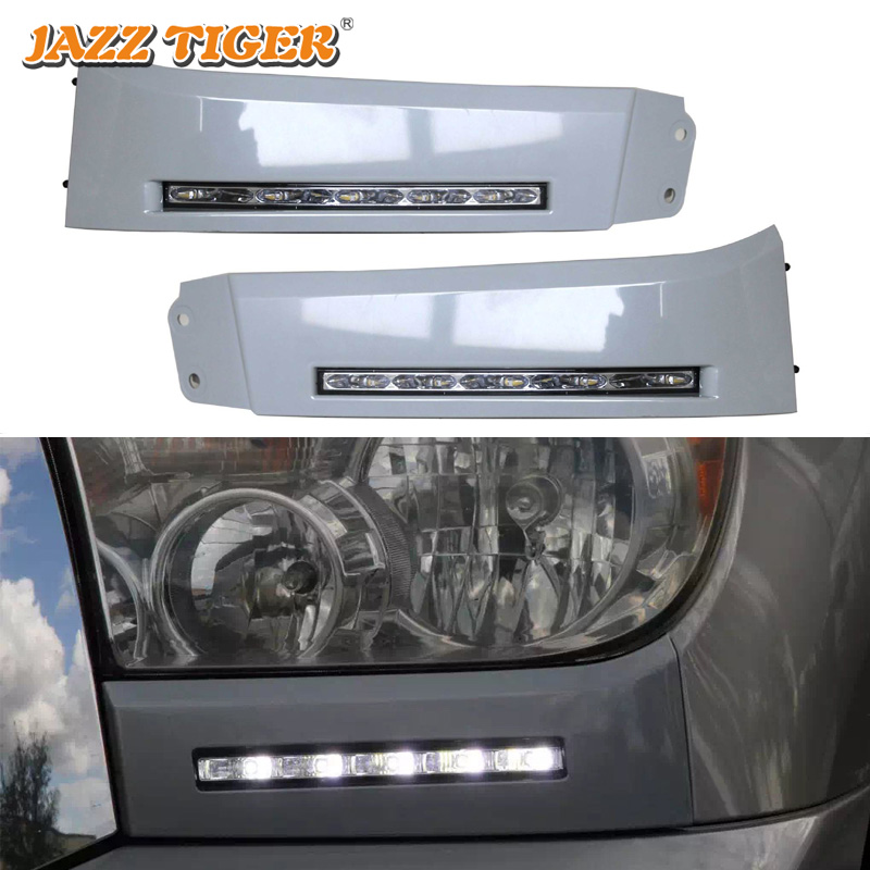 JAZZ TIGER Auto Dimming Function Waterproof Car 12V LED Daytime Running Light DRL For Toyota Tundra 2010 2011 2012 2013 2014 new dimming style relay waterproof 12v led car light drl daytime running lights with fog lamp hole for mitsubishi asx 2013 2014
