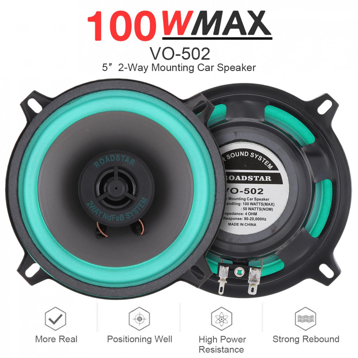 1pcs 5 Inch 100W Universal Car HiFi Coaxial Speaker Vehicle Door Auto Audio Music Stereo Full Range Frequency Speakers For Cars