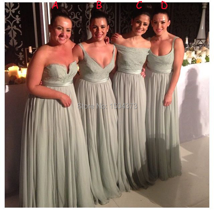 2015 new sage green long bridesmaid dresses 4 different for Different necklines for wedding dresses