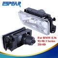 2PCS Front Bumper Clear Glass Lens Fog Lamp Fog Light Housing For BMW E36 3 Series 318 323 325 M3 1992 - 1998 Car Styling #991