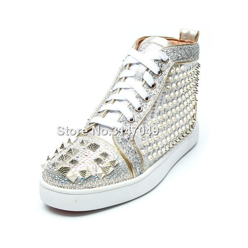 Chaussures de luxe Hommes Argent Strass Baskets Pour Hommes Bling Rivets Mocassin Hommes Chaussures à lacets décontracté Cristal Hommes Chaussures À Semelle Plate - 2