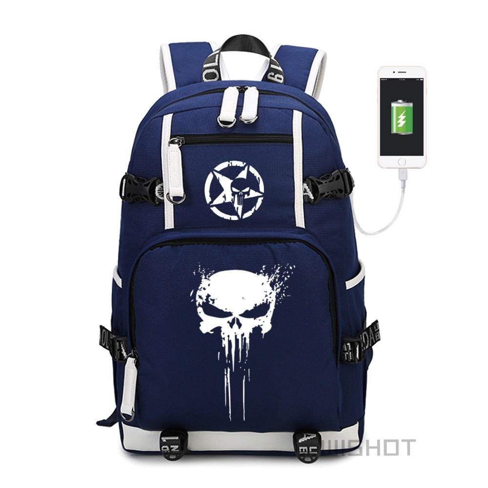 WISHOT The Punisher Skull Backpack Shoulder travel School Bag for teenagers Casual USB Charging Laptop Bags