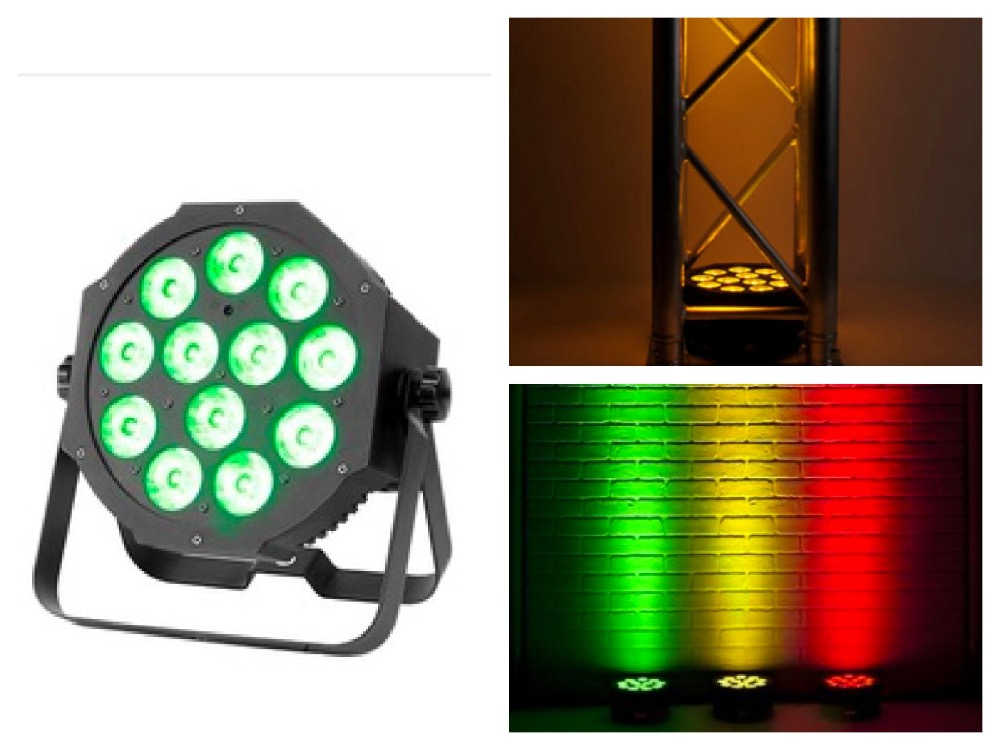 ФОТО 20pcs/Lot, ADJ LED par 12x3w/9w RGB 3in1 or 12x10W RGBW/A 4in1 Quad IEC power in/out Slim Par38 Light American DJ light DMX