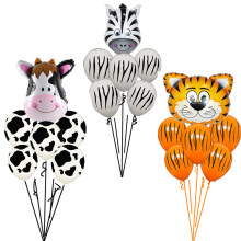 6 pcs/lot Tiger Zebra Cow Animal Air Helium Latex Balloon for Kids Gift Birthday Party Decor Animal Zoo Theme Supplies Toys(China)