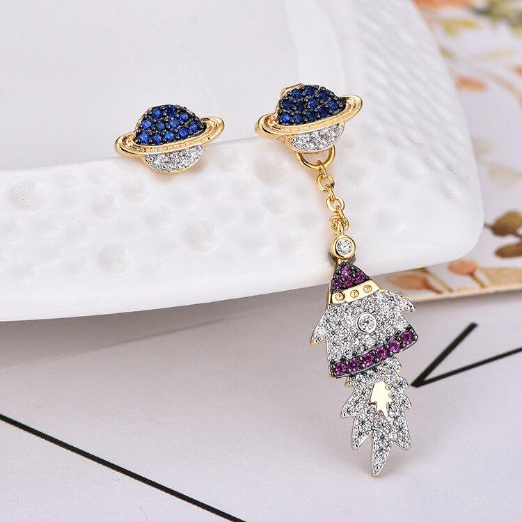 New Silver Planet Rocket Space AB Stud Earrings For Women Gold Color Cubic Zirconia Asymmetric Earrings Monaco Girl Earring