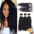 Hot Sale Peruvian Virgin Hair Beauty Plus Hair Afro Kinky Curly Hair 3 Bundles with Closure 8A Peruvian Curly Hair with Closure