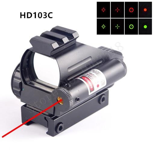 Caça Escopos Holográfica Mira Reflex Ponto Vermelho Verde com Cauda de Andorinha de Posição Do Laser Colimador Rifle 22 milímetros Guia Ferroviário