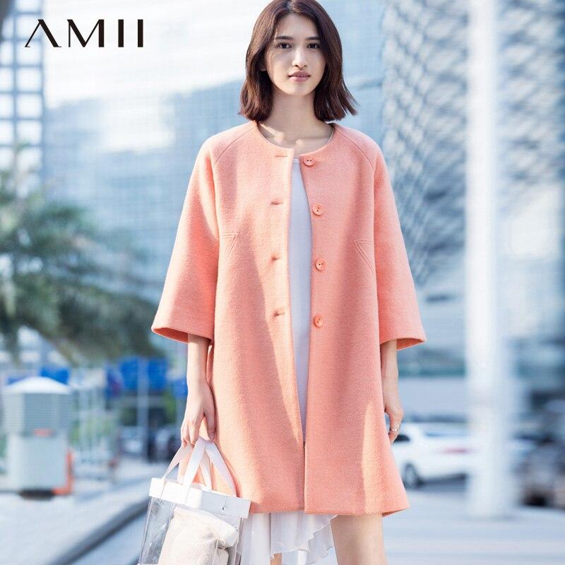 Amii Casual Women Woolen Coat 2018 Winter Solid Single Breasted O-Neck 3/4 Sleeve Female Wool Blends