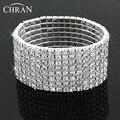 Chran Silver Color Rhinestone Crystal Beaded Bracelet Fashion Women 8 Rows Blingbling Wrap Bangles Best Jewelry Gifts For Women