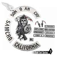 SOA Original Sohn von stickerei zurück patch anarchy schwarz eisen auf patches für kleidung motorrad club 35 CM