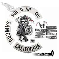 SOA Original Son of embroidery back patch anarchy black iron on patches for clothing motorcycle club 35CM