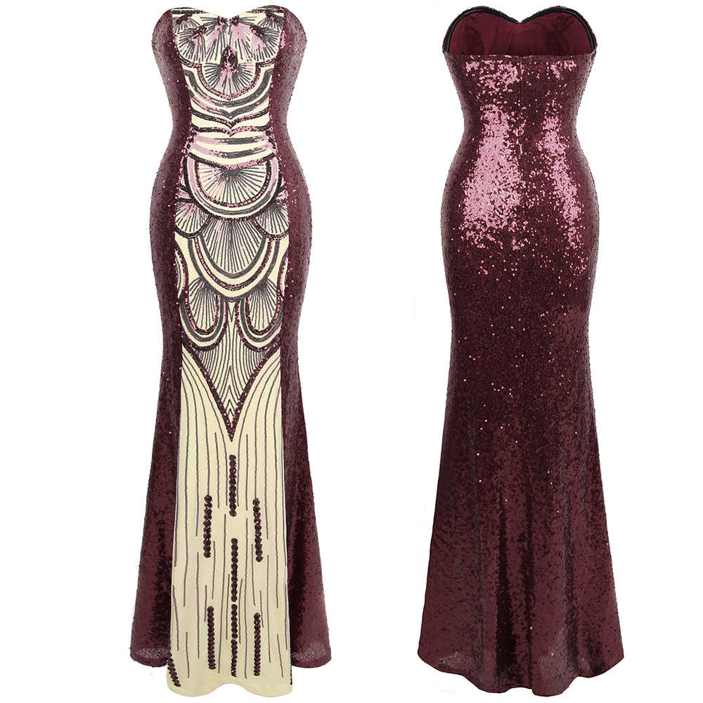 Angel-fashions Women's Strapless Vintage 1920s Sequin Evening Dresses Wine Red Reflective Party Dress 386 robe de soiree