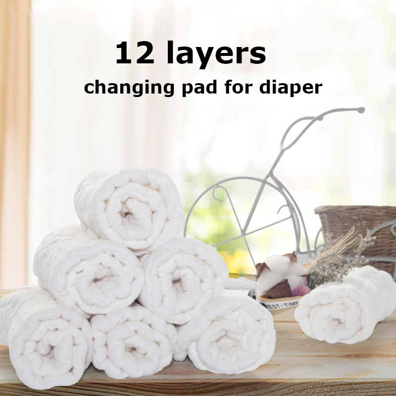 12 Layers Soft Breathable Baby Cloth Diaper Changing Pads Newborn Nappy Liners Inserts Washable Portable 0-3 Years Care Travel