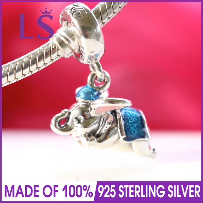 LS High Quality 100% 925 Silver Parks Exclusive Flying Dumbo Charm Fit Original Bracelets Pulseira Essencia.Women Fine Jewelry N n flying fan meeting bangkok