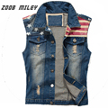 New Men's Denim Vest Vintage Frayed Cowboy Jeans Waistcoat Fashion Sleeveless Jackets Star Flag Printed Tanks Plus Size M-3XL