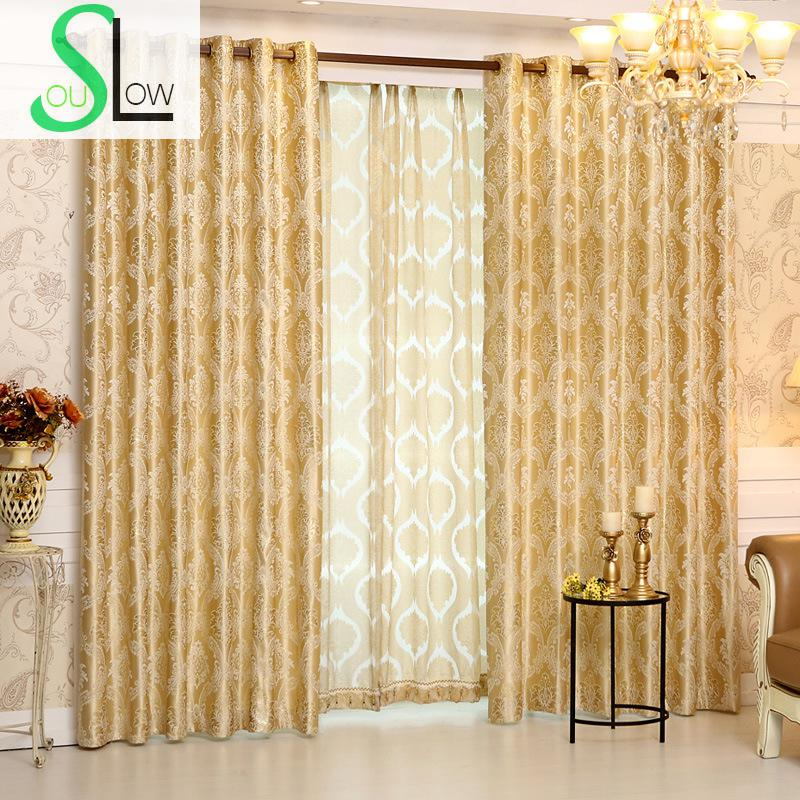 Romantic Jacquard Curtain Cloth Curtains And Tulle Modern Geometric Curtains Luxury Hotel Cortinas For Living Room