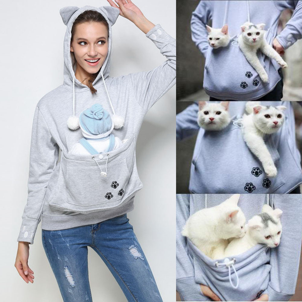 Unisex Cute Hoodies Pouch Pet Dog Cat Hooded Pullover With Ears - Hoodie with kangaroo pouch is the perfect cat accessory