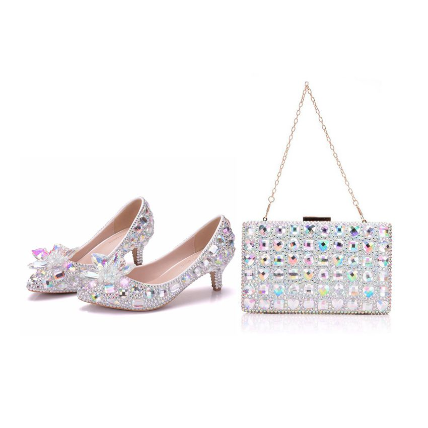 Crystal Queen High Heel Pointe Toe Women Wedding Shoes With Matching Bags Bride Payty Dress Shoes Purse Crystal Flower 5CM Pumps crystal queen multicolor flower shining crystal womens flat wedding shoes matching bags clutches flats female lady party shoes