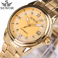 Sewor top brand luxury mechanical watch sport automatic wristwatch relogio business golden series stainless steel mens watches