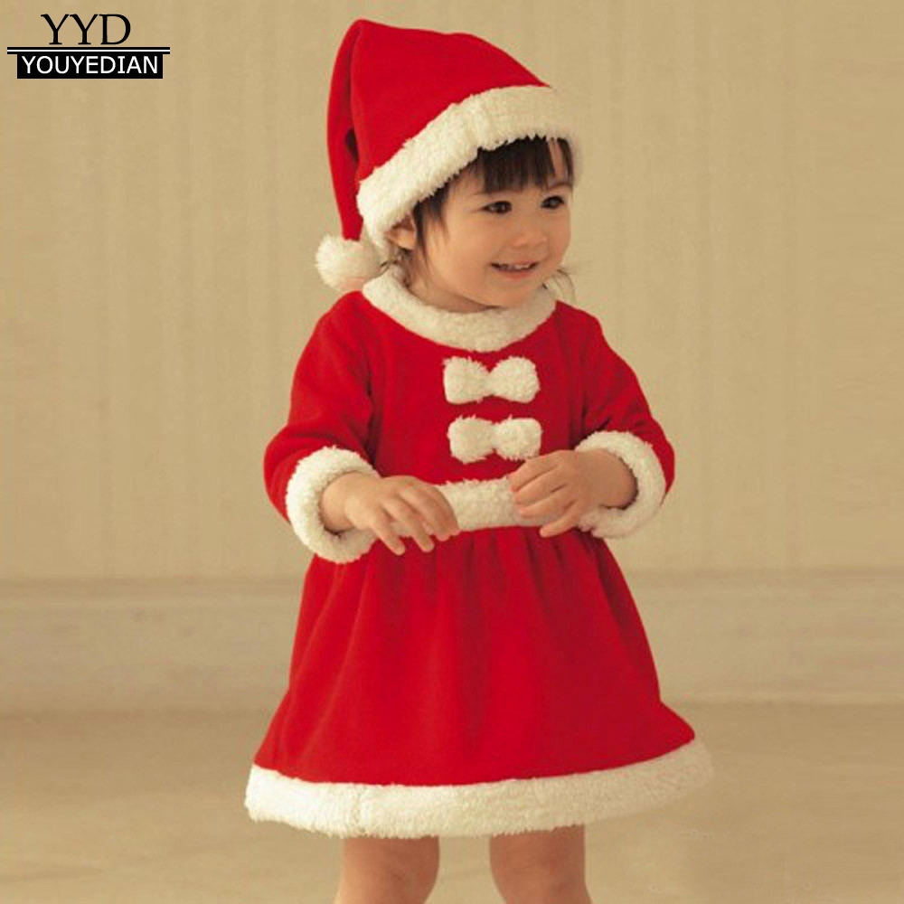 2017 Cosplay Party Chrstmas Dress Toddler Kids Baby Girl Boys Bowknot Cotton Christmas Clothes Costume Dresses With Hat #1125 Superior Materials