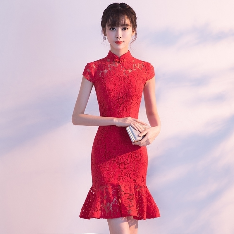 US $39.99 40% OFF|Traditional Chinese Dress Qipao Red Ladies Evening  Dresses Vintage Cheongsam Women Bride Short Lace Cheongsam Plus Size  Modern-in ...