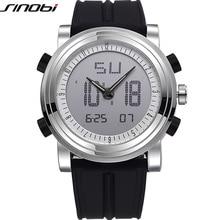 SINOBI Sports Chronograph Men's Wrist Watches Digital Quartz 2 Movement Waterproof Diving Watchband Top Luxury Brand Males Clock
