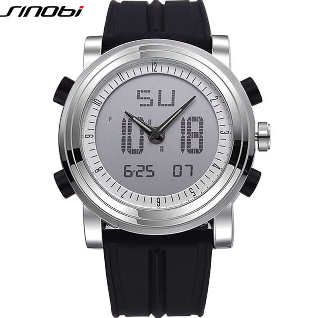Sinobi спорт хронограф мужские наручные часы цифровой кварцевые 2 движение водонепроницаемый дайвинг ремешок топ люксовый бренд мужчины часы