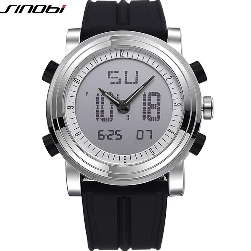 Prix pour Sinobi sport chronographe hommes de poignet montres numérique quartz 2 mouvement étanche plongée bracelet top marque de luxe hommes horloge