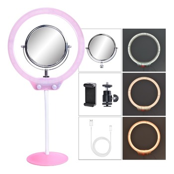 Portable 8-inch Mini Desktop Ring Light 3200K-5500K 7.5W 128pcs LED Selfie Ringlight Usb Interface With Power Cord Light Stand