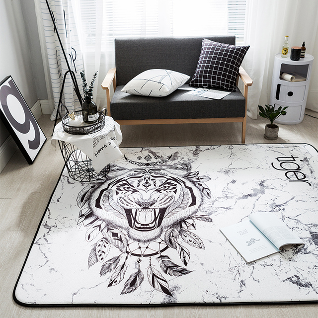 White Tiger Flannel Doormat 145x200cm Size Soft Fleece Carpet Rectangle Home Decoration Animals Rugs Anti