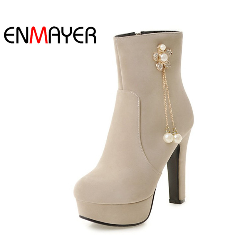 ENMAYER Ankle Boots for Women High Heels Round Toe Platform Shoes Woman Plus Size 34-45 Blue Black Beige Peach Winter Boots fashion beige woman snow boots winter square heels round toe sexy pu winter shoes for lady high heels plus size 34 43