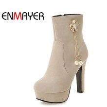 ENMAYER Ankle Boots for Women High Heels Round Toe Platform Shoes Woman Plus Size 34-45 Blue Black Beige Peach Winter Boots