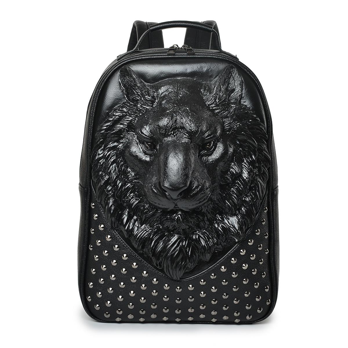 Hommes sac à dos 3D en relief tête de tigre clouté Rivet Gother femmes en cuir souple voyage punk rock sac à dos ordinateur portable école Halloween sac - 3