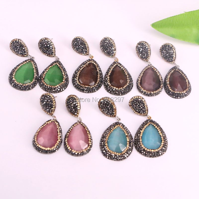 5Pairs Fashion Nature 2017 Faceted Cat Eye Stone Drop Earrings with Crystal Zircon Paved Charm Dangle