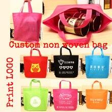 Lot de 100 pièces, sacs non tissés avec logo imprimé personnalisé, sacs pour cadeaux, sacs demballage, sacs de courses en tissu non tissé