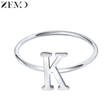 ZEMO Real 925 Sterling Silver Letter Rings A-Z Alphabet Initial Name Charm Jewelry Custom Personalized for Women