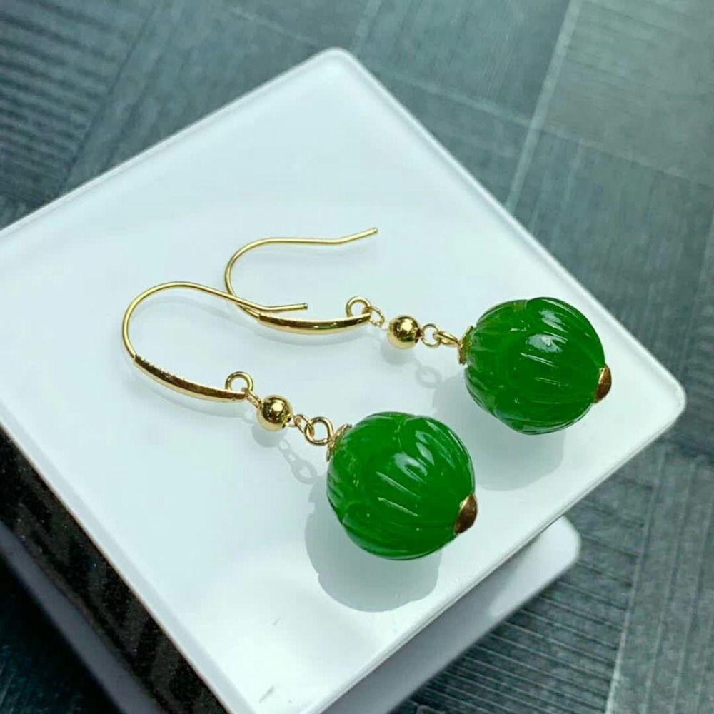 SHILOVEM 18k yellow gold Natural Jasper drop earring classic fine Jewelry women wedding new gift wholesale myme1010by in Earrings from Jewelry Accessories