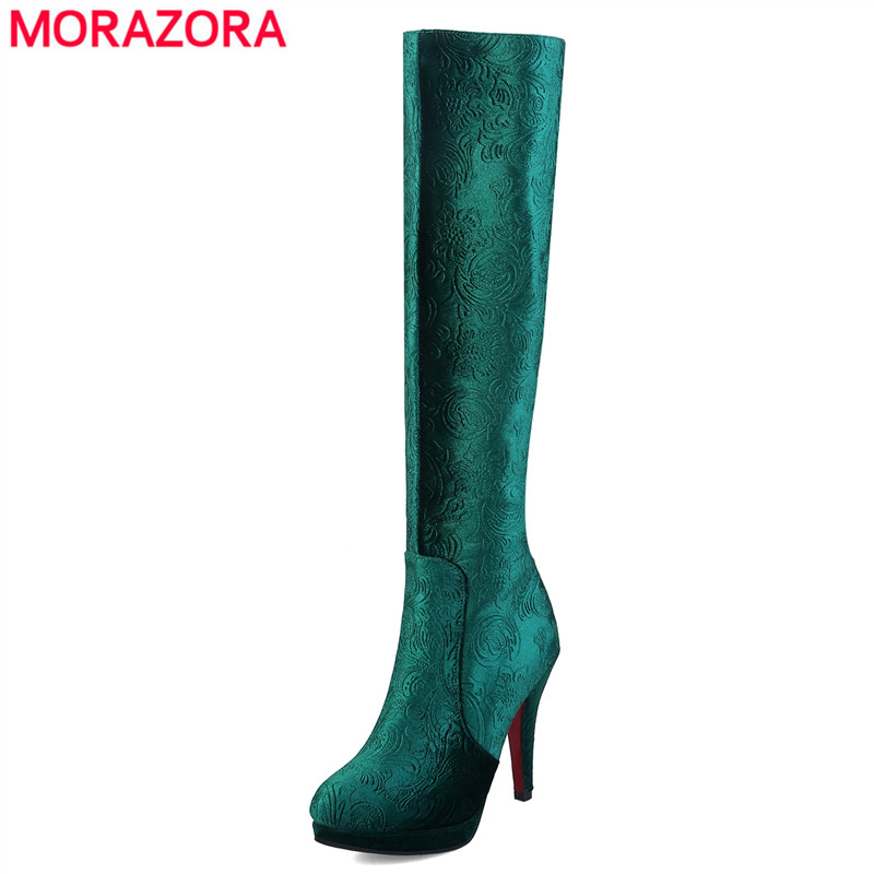 MORAZORA Wholesale 2018 New fashion silk knee high boots women round toe platform high heels winter boots ladies shoes size 44