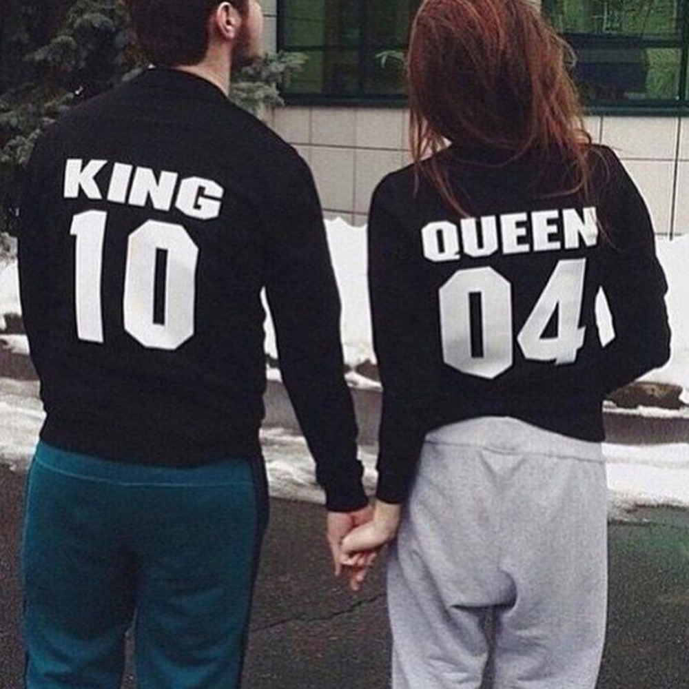 2107 Winter Fashion Couples Sweatshirts Print KING QUEEN Long Sleeve Hoodies Lovers Sweatshirt Men Women Pullover Tops Hot Sales