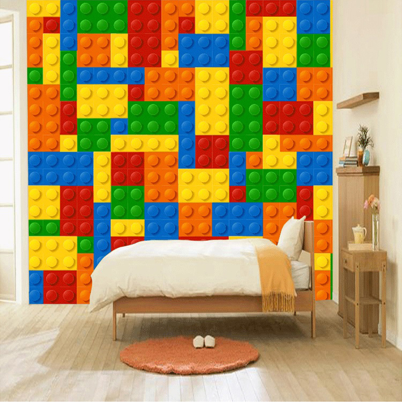 Custom Photo Wallpaper 3d Lego Bricks Kids Room Bedroom Toy Store Background Decoration Baby Room Non Woven Wall Mural Wallpaper