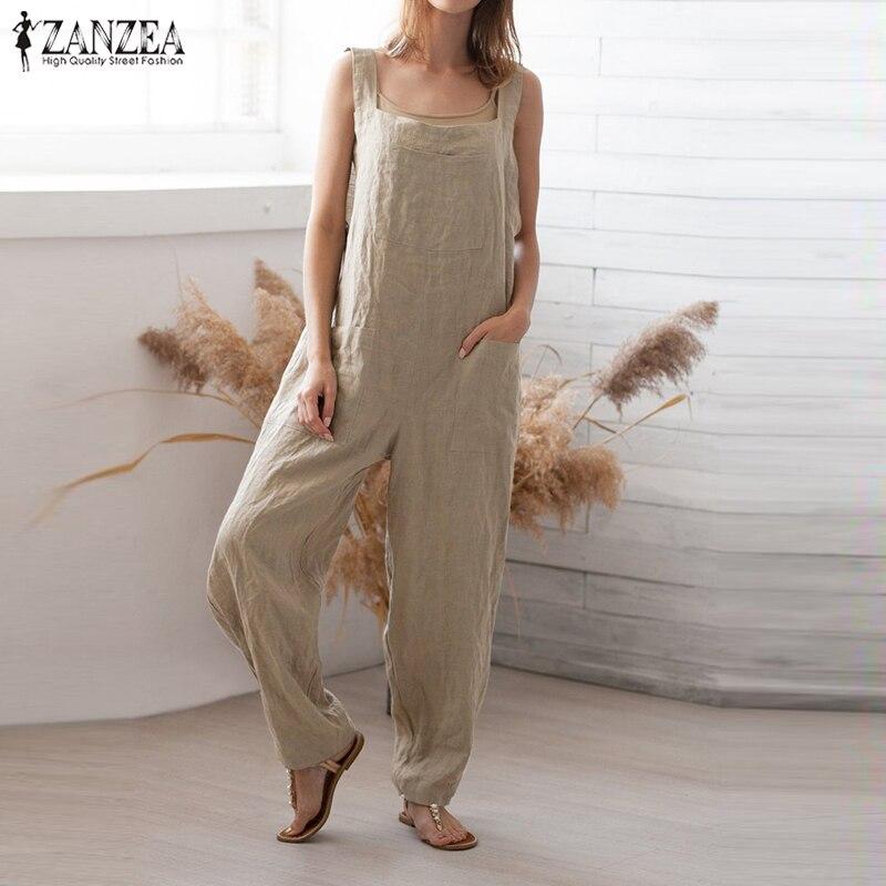 Plus Size Linen Overalls Women's Jumpsuits Summer 2019 ZANZEA Causal Suspender Rompers Tank Playsuits Combinaison Femme Pants