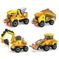 4 Pcs Cidade veículo de Engenharia Bulldozer Caminhão Kits Conjuntos de Blocos de Construção de modelos em escala Brinquedos Tijolo playmobil Compatível Com Legoe