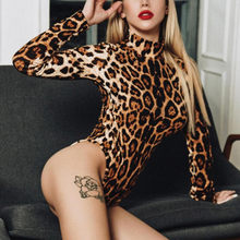 2019 Custom Autumn Bodysuits Leopard vetement sexy femme O-Neck Long Sleeve Sexy Leopard Bodysuits women rompers and jumpsuites(China)