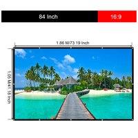 Excelvan 84 дюймов 16:9 складной белый портативный проектор ткань экран с подвесным отверстием для дома и наружного использования