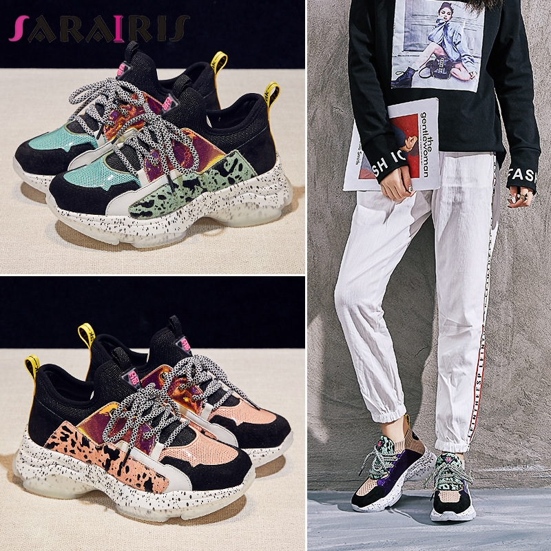 SARAIRIS 2019 New Spring Summer INS Hot Women Horsehair Sneakers Cow   Leather     Suede   Large Size 35-42 Casual Women Shoes Woman