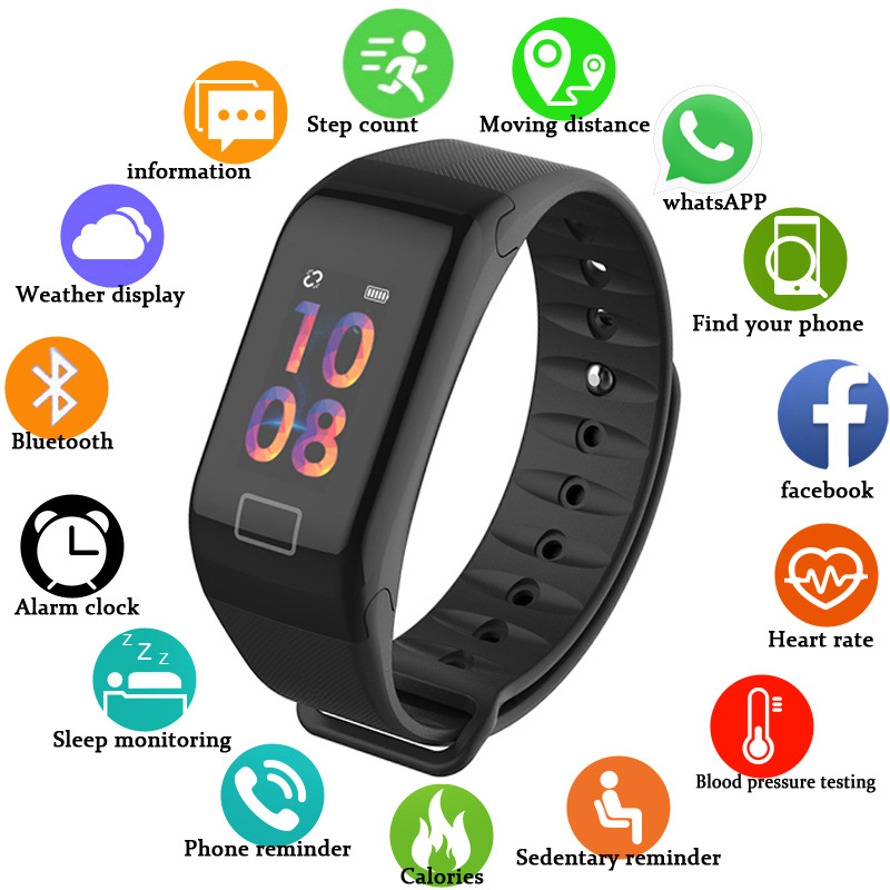 Tonometer Blood Pressure Monitor Tensiometers Digital Pulsometer Oximeter Pedometer Smart Wristband Wrist Sphygmomanometer Watch