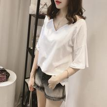 Yfashion Loose Solid Color T Shirt Women Summer Cotton Cut Up V Collar Short Sleeve T-shirts Tee for Female Girls
