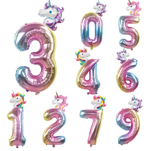 2pcs Rainbow Unicorn 32inch Foil Number Balloons Kids Birthday Party Decoration Helium Balloon Event Baby Shower Decor