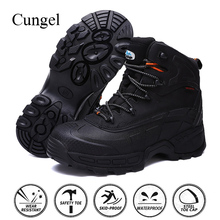Cungel High quality Men Safety shoes Steel toe cap Leather Work boots Military Combat Outdoor Hiking Waterproof