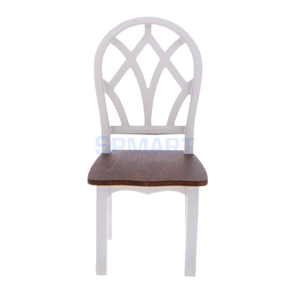 White Wooden Kitchen Chairs Kohler Pull Down Faucet Dollhouse Miniature Dining Room Furniture